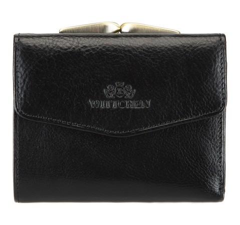 Damski portfel skórzany na bigiel mały, czarny, 21-1-063-4, Zdjęcie 1
