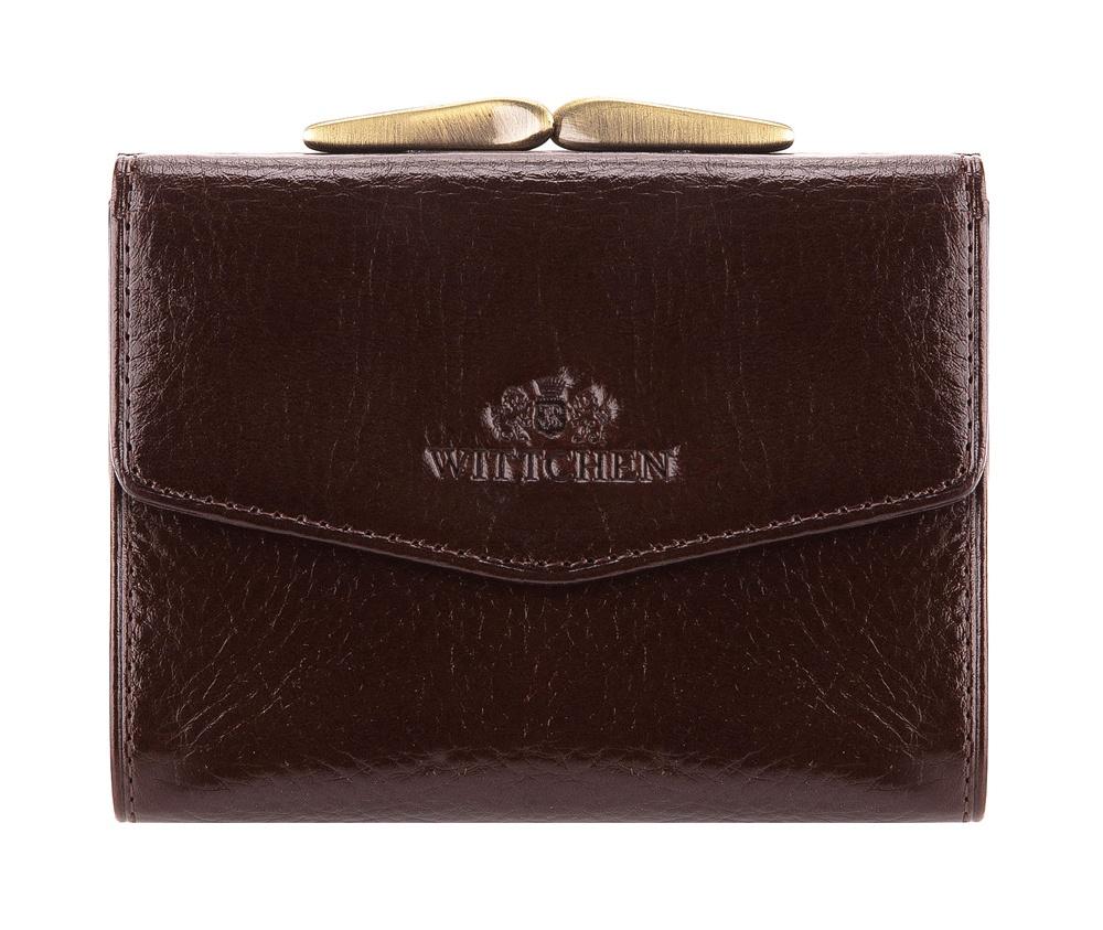 ПортмонеЖенское портмоне сделано из мягкой телячьей кожи. Логотип- герб WITTCHEN тисненый на коже.&#13;<br>Портмоне состоит:&#13;<br>&#13;<br>&#13;<br>    отделение для монет, разделенное на 2 части&#13;<br>    карман для купюр&#13;<br>    2отделения для кредитных карт&#13;<br>    3 кармана, один из них прозрачный&#13;<br>    размеры: 110 x 90 мм&#13;<br>&#13;<br>Портмоне имеет подарочную упаковку с логотипом WITTCHEN, дополнительно с товаром прилагается индивидуальный Сертификат Подлинности, который подтверждает оригинальность и высокое качество продукции.&#13;<br>Коллекция Italy, подробное описание коллекции Вы можете найти<br><br>секс: женщина<br>Цвет: коричневый<br>высота (см):: 9<br>ширина (см):: 11