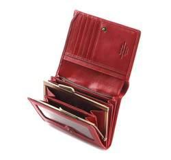 Damski portfel skórzany z herbem na napę, czerwony, 10-1-070-3, Zdjęcie 1