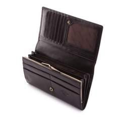 Damski portfel ze skóry z herbem duży, czarny, 10-1-075-1, Zdjęcie 1