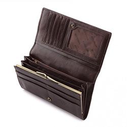 Damski portfel ze skóry z herbem duży, brązowy, 10-1-075-4, Zdjęcie 1