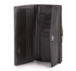 Damski portfel ze skóry z herbem na bigiel, czarny, 10-1-079-1, Zdjęcie 1