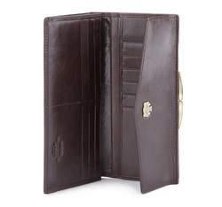 Damski portfel ze skóry z herbem na bigiel, brązowy, 10-1-079-4, Zdjęcie 1