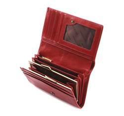 Damski portfel skórzany z herbem średni, czerwony, 10-1-081-3, Zdjęcie 1