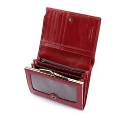 Damski portfel ze skory z herbem na napę, czerwony, 22-1-070-3, Zdjęcie 1