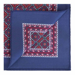 Patterned silk pocket square, red-navy blue, 91-7P-001-X3, Photo 1