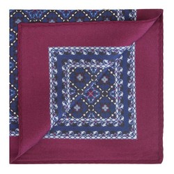 Patterned silk pocket square, navy blue-burgundy, 91-7P-001-X4, Photo 1