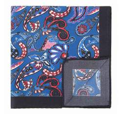 Poszetka z jedwabiu wzorzysta duża, niebiesko - czerwony, 92-7P-001-X3, Zdjęcie 1