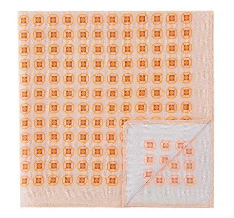Poszetka z jedwabiu wzorzysta duża, beżowo - pomarańczowy, 92-7P-001-X5, Zdjęcie 1