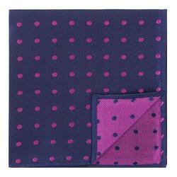 Poszetka z jedwabiu wzorzysta mała, granatowo - różowy, 92-7P-001-X6, Zdjęcie 1