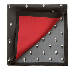 Men's pocket square, red-black, 85-7P-X01-X1, Photo 1