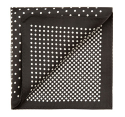 Men's pocket square, black-white, 85-7P-X01-X12, Photo 1