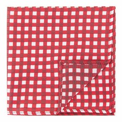 Poszetka z jedwabiu wzorzysta mała, czerwono - biały, 92-7P-001-X7, Zdjęcie 1