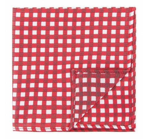 Poszetka z jedwabiu wzorzysta mała, czerwono - biały, 92-7P-001-X6, Zdjęcie 1