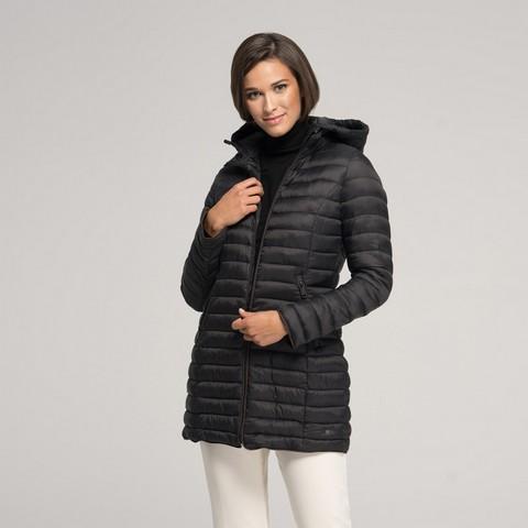 Damska kurtka z kapturem przejściowa, czarny, 91-9N-100-1-XL, Zdjęcie 1