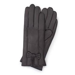 Damskie rękawiczki ze skóry z kokardką, ciemny brąz, 39-6-536-BB-X, Zdjęcie 1
