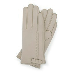 Damskie rękawiczki skórzane z kokardką, beżowy, 39-6-551-6A-M, Zdjęcie 1