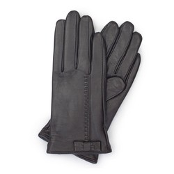 Damskie rękawiczki skórzane z kokardką, ciemny brąz, 39-6-551-BB-L, Zdjęcie 1