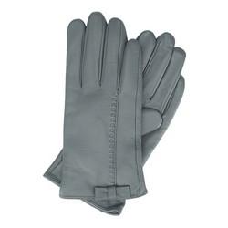 Damskie rękawiczki skórzane z kokardką, szary, 39-6-551-S-S, Zdjęcie 1