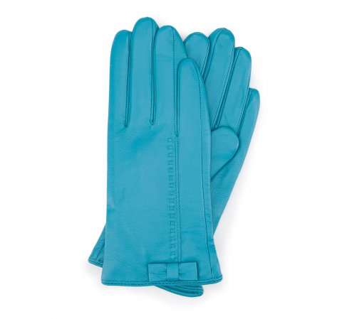 Damskie rękawiczki skórzane z kokardką, turkusowy, 39-6-551-S-S, Zdjęcie 1