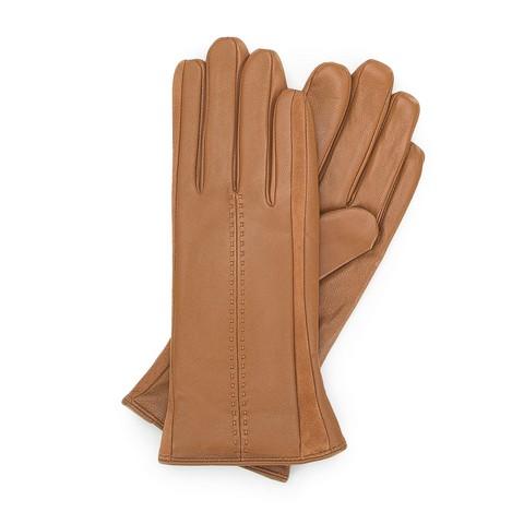 Rękawiczki damskie, camelowy, 39-6-559-LB-S, Zdjęcie 1