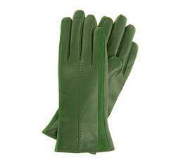 Damskie rękawiczki skórzane z zamszowymi wstawkami, ciemny zielony, 39-6-559-Z-X, Zdjęcie 1
