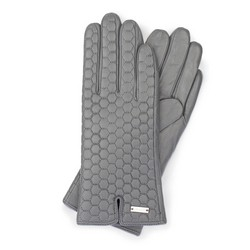 Damskie rękawiczki skórzane pikowane, szary, 39-6-574-S-M, Zdjęcie 1
