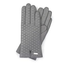Damskie rękawiczki skórzane pikowane, szary, 39-6-574-S-S, Zdjęcie 1