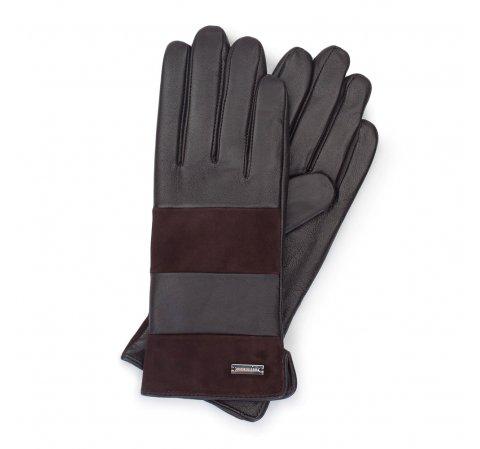 Damskie rękawiczki skórzane z poziomym pasem, ciemny brąz, 39-6-576-1-S, Zdjęcie 1