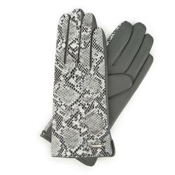 Damskie rękawiczki ze skóry z wężowym motywem, szary, 39-6-914-S-S, Zdjęcie 1