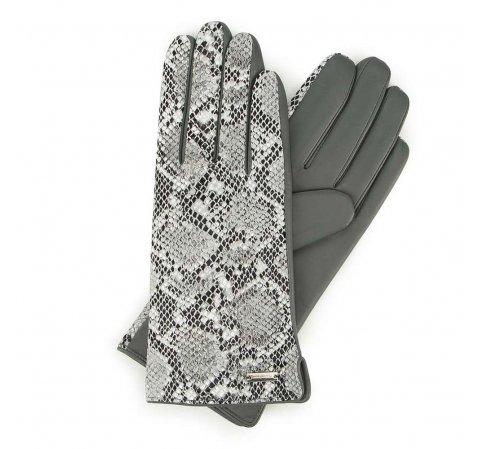 Damskie rękawiczki ze skóry z wężowym motywem, szary, 39-6-914-S-XL, Zdjęcie 1
