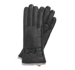 Damskie rękawiczki skórzane ze zdobieniami, czarny, 44-6-514-1-M, Zdjęcie 1