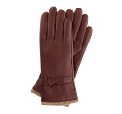 Damskie rękawiczki skórzane ze zdobieniami, bordowy, 44-6-514-BD-S, Zdjęcie 1