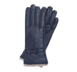 Damskie rękawiczki skórzane ze zdobieniami, granatowy, 44-6-514-GC-S, Zdjęcie 1