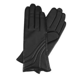 Damskie rękawiczki ze skóry z przeszyciem, czarny, 44-6-526-1-S, Zdjęcie 1