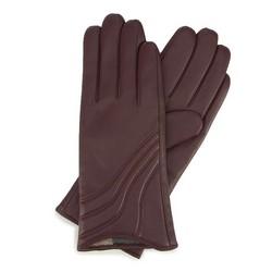 Damskie rękawiczki ze skóry z przeszyciem, bordowy, 44-6-526-BD-M, Zdjęcie 1