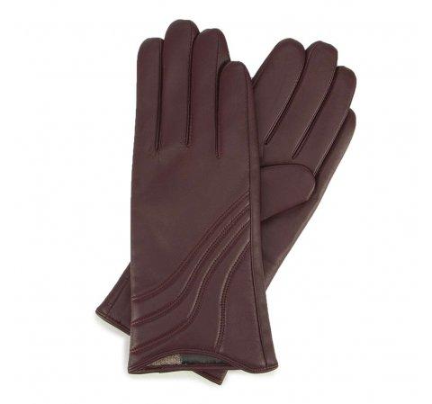 Damskie rękawiczki ze skóry z przeszyciem, bordowy, 44-6-526-1-S, Zdjęcie 1