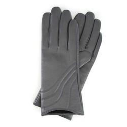 Damskie rękawiczki ze skóry z przeszyciem, szary, 44-6-526-S-M, Zdjęcie 1