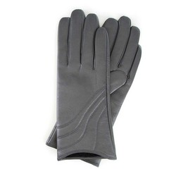 Women's leather gloves with stitch detailing, grey, 44-6-526-S-V, Photo 1