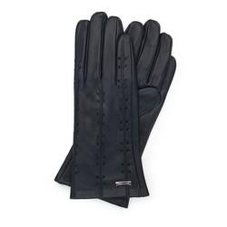 Damskie rękawiczki skórzane z ozdobnymi przeszyciami, czarny, 45-6-235-1-M, Zdjęcie 1
