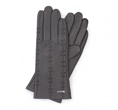 Damskie rękawiczki skórzane z ozdobnymi przeszyciami, ciemny brąz, 45-6-235-1-M, Zdjęcie 1