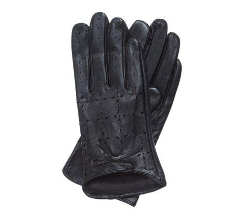 Damskie rękawiczki skórzane dziurkowane, czarny, 45-6-519-GC-M, Zdjęcie 1