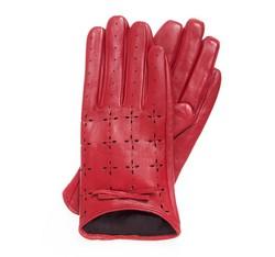 Damskie rękawiczki skórzane dziurkowane, czerwony, 45-6-519-2T-X, Zdjęcie 1