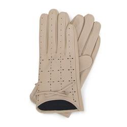 Damskie rękawiczki skórzane dziurkowane, kremowy, 45-6-519-A-X, Zdjęcie 1