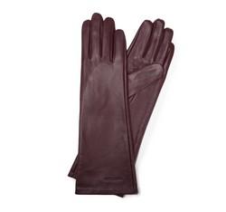 Damskie rękawiczki skórzane długie, bordowy, 45-6L-233-BD-L, Zdjęcie 1