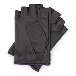 Rękawiczki damskie, czarno - fioletowy, 46-6-301-1-S, Zdjęcie 1