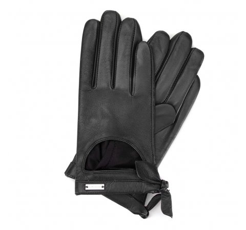 Damskie rękawiczki skórzane z wycięciem, czarny, 46-6-302-1-M, Zdjęcie 1