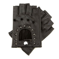 Damskie rękawiczki skórzane bez palców z perforacją, czarny, 46-6-303-1-S, Zdjęcie 1