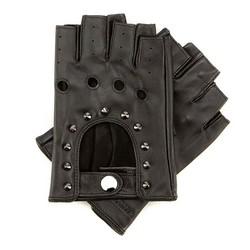 Damskie rękawiczki skórzane bez palców z perforacją, czarny, 46-6-303-1-V, Zdjęcie 1