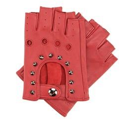 Damskie rękawiczki skórzane bez palców z perforacją, czerwony, 46-6-303-2T-M, Zdjęcie 1